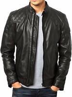 New Men's Genuine Lambskin Leather Biker Jacket Slim Fit Motorcycle Black Jacket