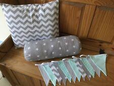NURSERY 3 PIECE SET GREY MINT CHEVRON STAR HANDMADE cushion covers bunting boy