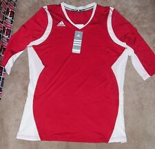 NEW ADIDAS Quickset 3/4 Sleeve Women Ladies Volleyball Jersey Shirt L Red White