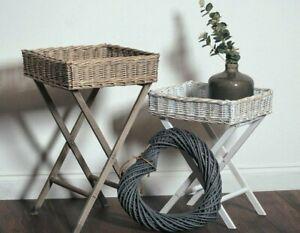 Wooden Wicker Basket Butler Tray Table