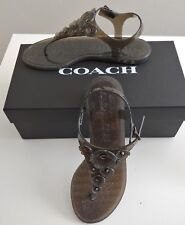 COACH Trmulti Jelly  Sandals Flat Thong T-Strap Shoes Black Peony Flowers Size 5
