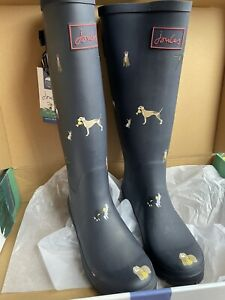 Joules Tall Welly Boots UK 8 EU 42 - Navy Show Dogs - New In Box