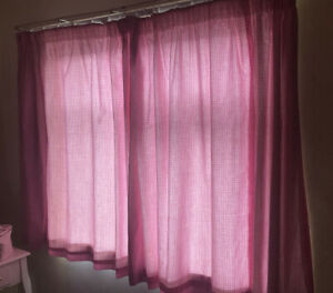 Gingham Pink And White Curtains 128x160cm