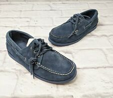 Zara Boys Nautic Suede Loafers Size 34 Kids 2.5 Blue Leather Boat Shoes