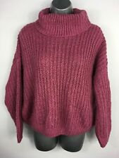 WOMENS DOROTHY PERKINS PINK CHUNKY KNIT ROLLNECK LONG SLEEVE JUMPER SWEATER UK16