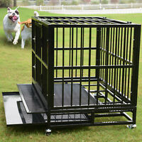 "XL 37"" Dog Crate Kennel - Heavy Duty Pet Cage Playpen w/ Metal Tray Exercise Pan"