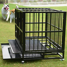 """XL 37"""" Dog Crate Kennel - Heavy Duty Pet Cage Playpen w/ Metal Tray Exercise Pan"""