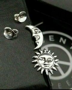 925 Sterling Silver Moon and Sun Ethnic Ying Yang Stud 10MM  Earrings + Gift Box