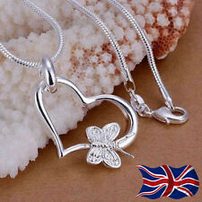 925 Sterling Silver Heart Butterfly Necklace Pendant Snake Chain Necklace UK