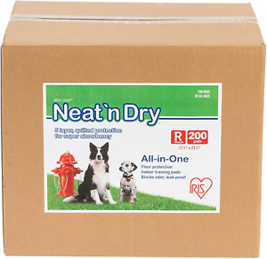 IRIS USA Neat 'n Dry Premium Indoor Pet Dog Training Pads Leak-Proof Sheet 200u