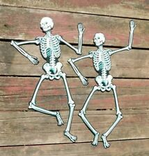 PAIR VINTAGE BEISTLE JOINTED SKELETONS 22 INCH MOUTH CLOSED BLANK BACKS USA