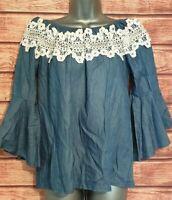 NINA CONTI Size 12 Top BLUE Denim WHITE Crochet Lace OFF-SHOULDER Casual VGC