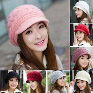 Women Ladies Winter Warm Knit Hat Crochet Slouchy Baggy Peaked Beanie Cap Adient