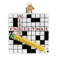 """""""Crossword Puzzle"""" (44139)X Old World Christmas Glass Ornament w/OWC Box"""