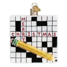 Old World Christmas CROSSWORD PUZZLE (44139)X Glass Ornament w/OWC Box
