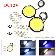 2× DC12V Car DRL Daytime Running Light Round White LED Lights COB Driving Lamp