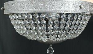 "Crystal Ceiling Fixture 3-Light Chandelier Lamp Flush Mount Antique Silver 14"" D"