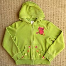 Gymboree Fall For Autumn EUC Green Velour Owl Hoodie Jacket Cardigan M/7-8 yrs