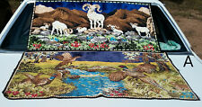 2 Colorful Vintage Belgium Tapestry Rugs Bighorn Sheep Ram Pheasant Bird Hunting