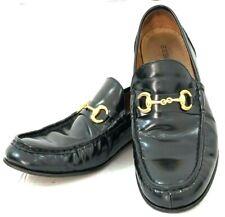 SEBOY'S Mens Black Leather Loafer Shoes Size 42 UK  US 9 Gold Horsebit Italy