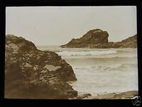 Glass Magic Lantern Slide TREVONE CORNWALL NO.2 C1910 BEACH ENGLAND