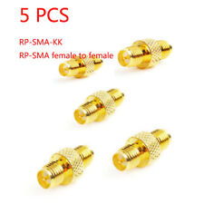 5PCS Straight Brass RP-SMA-KK Female / Female Connector RF Adapter Coaxial Plug