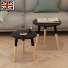 Set of 2 Round Nesting Tables Side End Coffee Table Pinewood Black Plant Stand