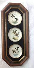 Framed set of 3 Bird Collector Plates - ducks, pheasants, Geese 813