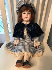Antique German Kestner Bisque Doll Body 22� Tall Blue Eyes w/Square Cut Teeth