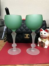 Set Of Cloudy Green Wine Glasses
