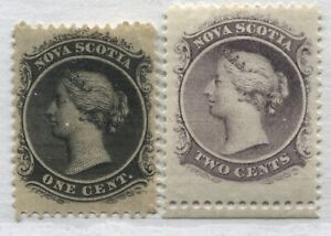 Nova Scotia 1860 1 cents and 2 cents mint o.g. hinged