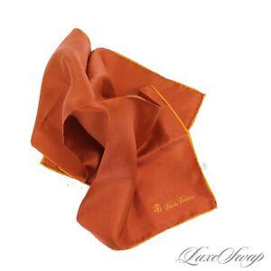 NWT Brooks Brothers 100% Silk Burnt Spice Orange Marigold Piped Pocket Square NR