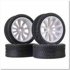 4 x RC1:10 On-Road Car White 10-spoke Wheel Rim & Single-oriented Rubber Tire