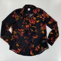 Cabi Sz Small Catherine Floral Black Silky Blouse Button Down Ruffle Hem Sheer