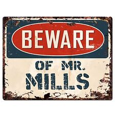 PP2384 Beware of MR. MILLS Plate Chic Sign Home Store Wall Decor Funny Gift