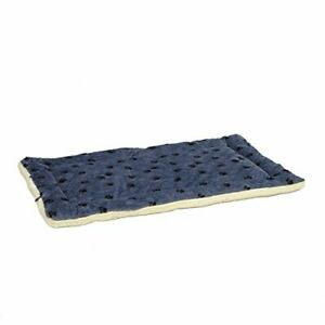 Reversible Paw Print Pet Bed in Blue / White Dog Bed Measures 52L x 34W x 3.8...