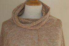 Eskandar Golden Beige Variegated Monk Cowl Luxurious Oversized Sweater O/S