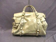 Auth miumiu GrayBeige Leather Handbag