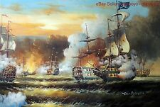 Pirate Ship Battle Naval Cannon Boat Caribbean Sunset Oil On Canvas Painting Art
