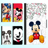 Galaxy S9 Plus Note 9 8 Leather Flip Wallet Case Disney Mickey Minnie III Cover