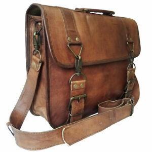 Men's Shoulder Messenger Laptop Briefcase Bag Genuine Goat Leather Vintage Brown
