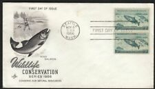 1956 Wildlife Conservation Sc 1079 FDC King Salmon Art Craft