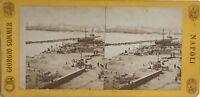 Napoli Molo Italia Fotografia Sommer Stereo Vintage Albumina