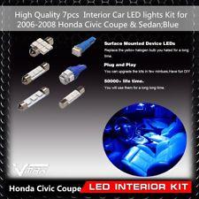 7pcs Blue Interior Car LED lights Kit Fit 2006-2008 Honda Civic Coupe & Sedan