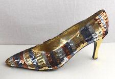 J. Renee vintage women's shoes sequin gold color size 9M