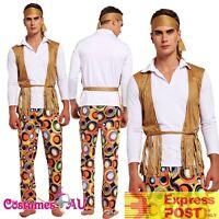 Mens Hippie 60s 70s Hippy Retro Groovy Costume Halloween 1960s 1970s Fancy Dress