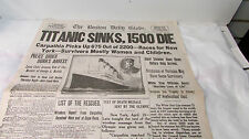 "THE BOSTON DAILY GLOBE newspaper ""Titanic Sinks, 1500 Die""  ~~ REPRINT"