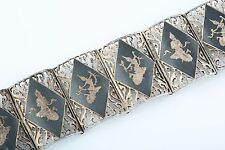 VINTAGE SIAMESE STERLING SILVER AND NIELLO ETCHED LINK PANEL BRACELET