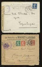 FRANCE 1915 to DENMARK...DIEPPE MILITARY CENSOR...ADVERTISING ENVELOPES