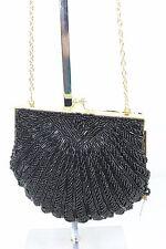 La Regale Beaded Seashell Evening Women Bag Clutch Small in Black/Gold Color